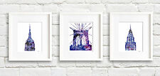 "Set of 3 NYC New York City Watercolor 11"" x 14"" Art Prints by Artist DJR"