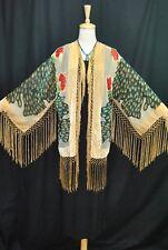 Hippie Peacock Duster Kimono Opera Jacket Burnout Velvet Baby Golden Short