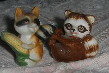 Vtg Raccoon Figurines Two Miniature Porcelain Raccoons Japan Eating Corn