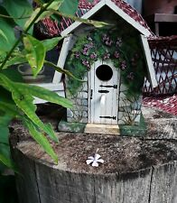 Vtg. Birdhouse, Hand painted, Cottage, excellent, 1980's, 8x8x6, Delightful!