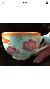 Hermes Porcelain Siesta Island BLUE Tea Cup Floral Authentic New Rare