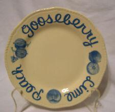 "Wood & Sons cake pie Plate 7 3/4"" gooseberry lime peach WORD border script blue"