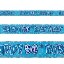9ft Happy 90th Birthday Blue Sparkle Prismatic Party Foil Banner Decoration