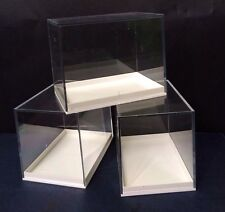4  LARGE PERSPEX DISPLAY SPECIMEN BOXES FOSSILS, DIE CASTS, COLLECTABLES