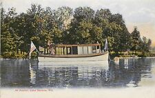 Vintage Lithographed PC; House Boat At Anchor, Geneva, WI, American Flag