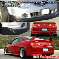 Mu-gen Style Front + TR Style Rear Bumper Lip (Urethane) Fit 02-04 Acura RSX 2dr