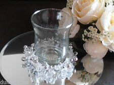 GLASS WEDDING HURRICANE CANDLE HOLDER TABLE CENTREPIECE..WITH BEAD DECORATION