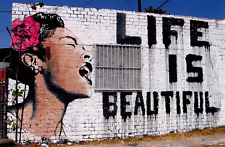 """Life Is Beautiful"" Billie Holiday 20""x26"" Stretched Ready to hang Urban Art"