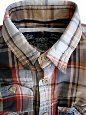SUPERDRY Shirt Mens 14.5 S Brown - Multi Check