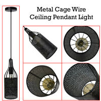 Vintage Lamp Shades Wire Cage Style Black Iron Chandelier Ceiling Pendant Light