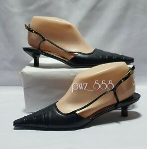 CHANEL Pointed Slingback Heels Size 37 1/2