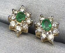 Stud Earrings CBI Vintage Emerald & Diamonds 14K Yellow Gold