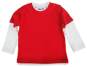 SALE ITEM 5 pack of Layered Skater Tops Red with White Sleeves Size 12-18 Months