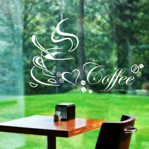 Cafe Coffee Cup Bean Love Heart Wall stickers Removable Mural Decor Vinyl DIY