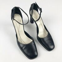 Kate Spade Leather Heels Womens Size 8.5 M Black Square Toe Ankle Strap