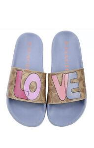 Women's Coach Udele Love Print Sport Slide Sandals Sz 7 New In Box
