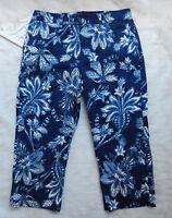 LAUREN RALPH LAUREN Crop Capri Pants Sz 8 Blue White Floral Flat Front Zipper