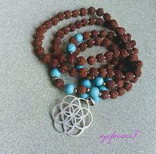Rudraksha Meditation Beads Necklace Krishna Teardrops, Handcrafted