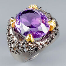 Handmade11ct+ Natural Amethyst 925 Sterling Silver Ring Size 7/R120010