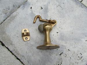 Antique Brass Door Stop with Hook