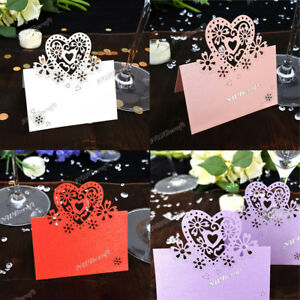 20Pcs Table Name Place Cards Love Hearts Wedding Party Pearlescent Laser Cut