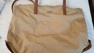 TUMI Q Tote Honey Blond Nylon Leather Trim Large Tote Work Shoulder Travel Bag