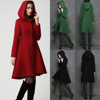 Women Winter Hooded Trench Coat Wool Blends Long Jacket Outwear Parka Overcoat #