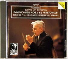 DGG CD 1993 GERMANY FULL SILVER Beethoven KARAJAN Symphony #5 & #6 439 004-2
