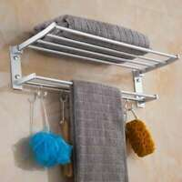 Wall Mounted Towel Rack Holder Hook Hanger Bar Shelf Rail Storage Bathroom Hotel