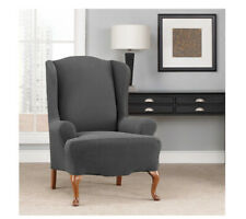 Sure Fit Stretch Chevron Wing Chair Wing back Slipcover in Carbon Gray Grey