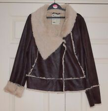 ❄️ New 12 Brown Faux Leather &teddy Fur Lined Flying Aviator Jacket Fur Collar
