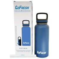GoFresh 32 oz Stainless Steel Double Wall Insulated Sport Bottle 2 Lids & Straw