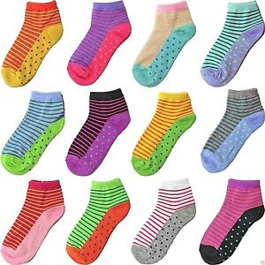 12 Pairs Womens Quarter Ankle Socks Multi Color Size 9-11 Fashion Cotton Casual