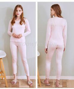 Women Silk Long Thermal Jersey Underwear Sets Mulberry Silk Top & Bottoms Set