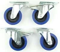 1 Set SL 100 mm Schwerlast Blue Wheel Lenkrollen mit/ohne Bremse Transportrollen