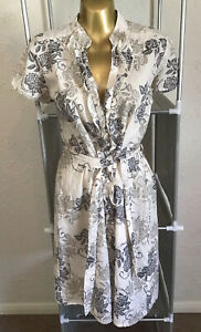 Red Herring Shirt Dress Size 14 Floral Sheer Cotton