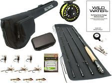 Wild Water Fly Fishing 9 Foot, 4-Piece, 5/6 Weight Fly Rod Complete Fly Fishing