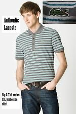 Lacoste Men's Big & Tall fit 2XL Short Sleeve Stone Gray Stripe Pique Polo NWT