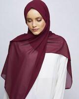 24 Quality New Women Plain Color Soft Chiffon Long Shawl Muslim Scarf Hijab Wrap