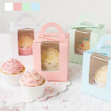 Cy_ 10Pcs Clear Window Single Cupcake Boxes Pastries Containers with Handle Eyef