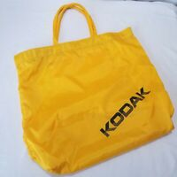 Vintage Kodak Camera Tote Bag 80s Yellow Black Fabric Shopping Zippered Pocket