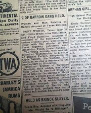 BONNIE AND CLYDE Outlaws Gang Pre Killed by Police TIPSTERS ? 1934 Old Newspaper