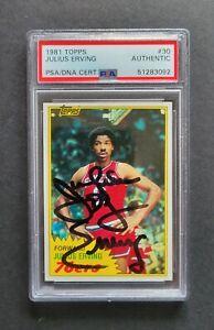 Julius Irving signed Philadelphia 76er's 1981 Topps Basketball Card Psa