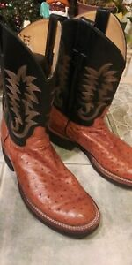 Mens Justin Ostrich Quill Cowboy Boots Brown Size 10EE