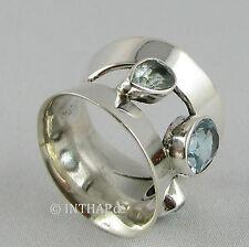 Ring 925 Sterling Silber - Silberring mit Topas blau - breit - Fingerring |In4-8