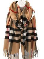 Ladies Thick Warm Check 'Burberry Look' Tartan Print BEIGE Tassel Scarf Pashmina