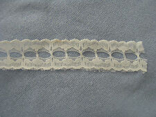 "WHITE SCALLOPED LACE W/OPENING IN THE CENTER FOR RIBBON,APPROX. 1-1/4"" X 3 YARDS"