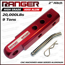 """Ranger 2"""" Aluminum Hitch Receiver 3/4"""" Shackle Adapter 20,000 LBs - Red"""