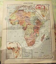 1962 Art print Carte Image Afrique Continent Politique Kivu Ruwenzori,Nil Nubie