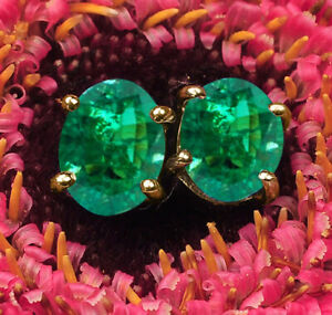 2.40Ct Oval Shape Zambian Green Emerald Solitaire Studs In Real 14KT Yellow Gold